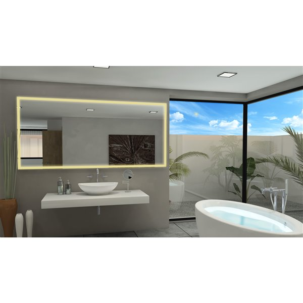 Paris Mirror with LED Lighting 100-in x 45-in 3000 K 24 V