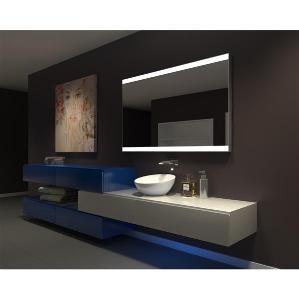 """Miroir à éclairage DEL intégré, 60"""" x 36"""", 6000 K, 24 V"""