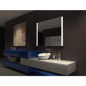 """Miroir à éclairage DEL intégré, 48"""" x 36"""", 3000 K, 24 V"""