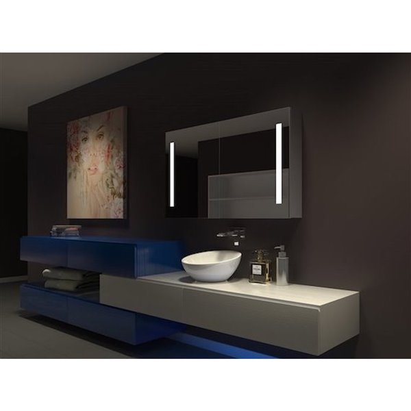 Paris Mirror Medicine Cabinet with LED Lighting  24-in x 24-in