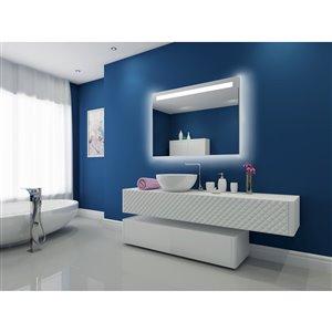 """Miroir à éclairage DEL intégré, 48""""x 35"""", 3000K, 24V"""