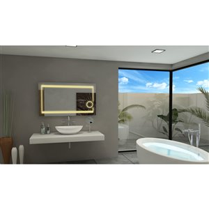 Paris Mirror Aurora 48-in x 28-in 3000K llluminated Mirror