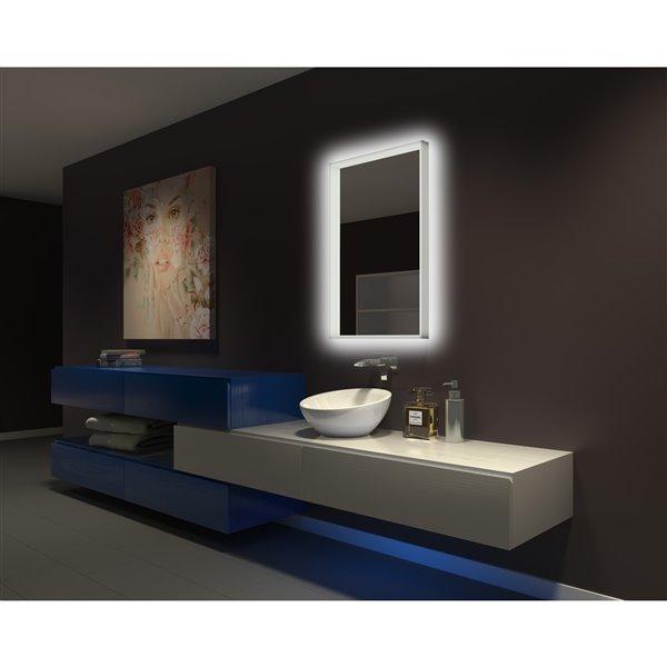 """Miroir acrylique illuminé,  24"""" x 36"""", 3000K"""