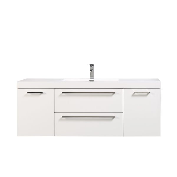 GEF Amira Vanity with Acrylic Top, 60-in White