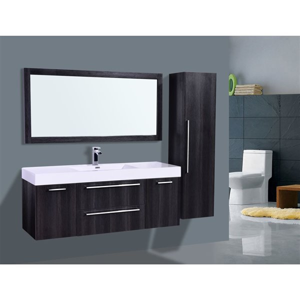 GEF Amira Vanity with Acrylic Top, 60-in Distressed Oak