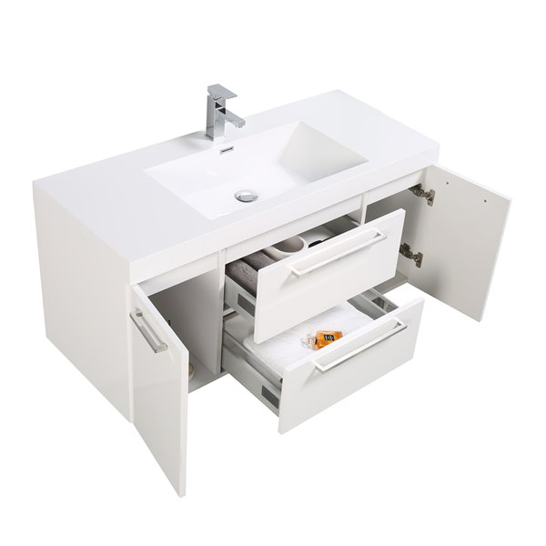 GEF Amira Vanity with Acrylic Top, 48-in White