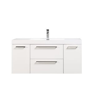 GEF Amira 48-in White Single Sink Bathroom Vanity with White Acrylic Top