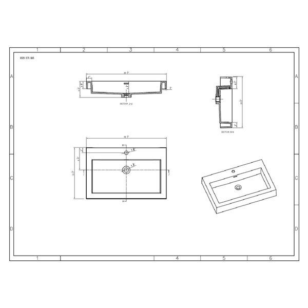 GEF Meuble-lavabo Amira avec comptoir acrylique , 32 po. chêne vieilli