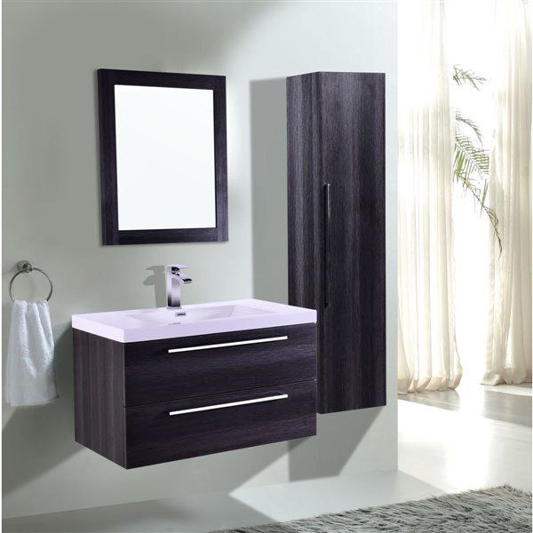 GEF Amira Vanity with Acrylic Top, 36-in Distressed Oak