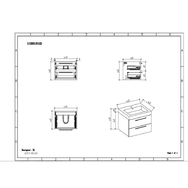 GEF Meuble-lavabo Amira avec comptoir acrylique , 24 po. chêne vieilli