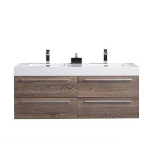 GEF Rosalie 60-in Soft Oak Double Sink Bathroom Vanity with Acrylic Countertop