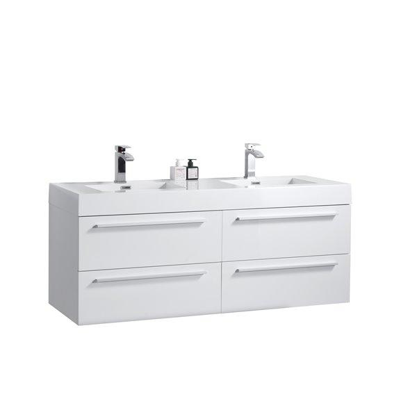 GEF Meuble-lavabo Rosalie avec comptoir acrylique , 60 po. blanc