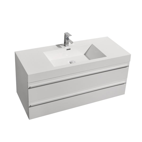 GEF Rosalie Vanity with Acrylic Top, 48-in White