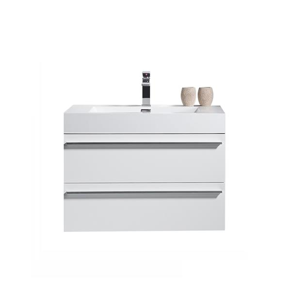GEF Rosalie Vanity with Acrylic Top, 30-in White