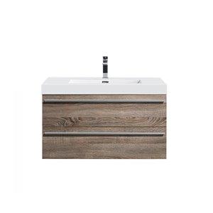 GEF Rosalie 36-in Soft Oak Single Sink Bathroom Vanity with Acrylic Top
