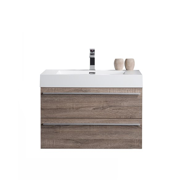 GEF Rosalie Vanity with Acrylic Top, 30-in Soft Oak