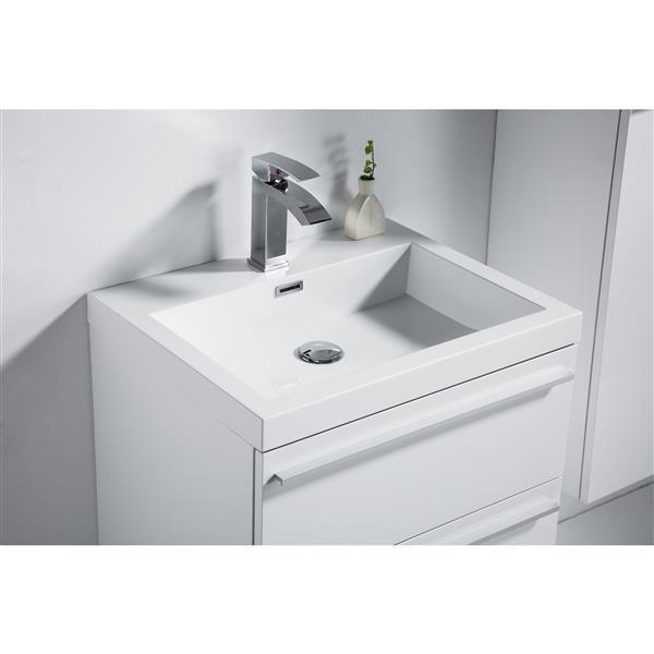 GEF Meuble-lavabo Rosalie avec comptoir acrylique , 24 po. blanc