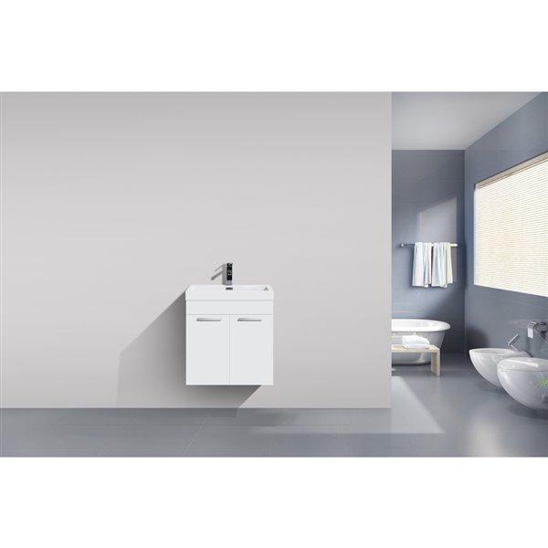 GEF Meuble-lavabo Rosalie avec comptoir acrylique , 20 po. blanc