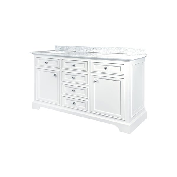 GEF Brielle Vanity with Carrara Marble Top, 60-in White