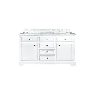 GEF Brielle 24-in White Single Sink Bathroom Vanity with White Carrara Marble Top 60-in