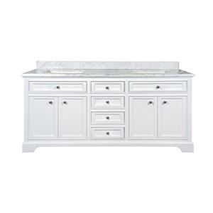 GEF Brielle 24-in White Single Sink Bathroom Vanity with White Carrara Marble Top 72-in