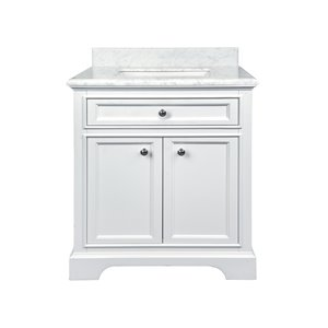 GEF Brielle Vanity with Carrara Marble Top, 30-in White
