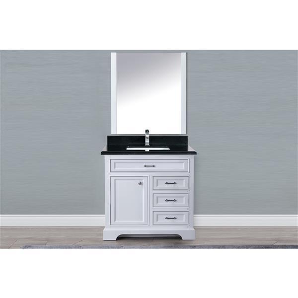 GEF Brielle Vanity with Granite Top, 36-in White