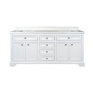 GEF Brielle Vanity with  White Quartz Top, 72-in White