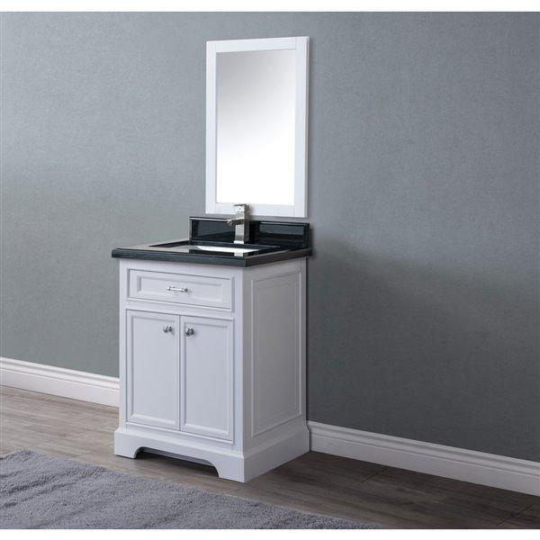 Meuble-lavabo Brielle avec comptoir en granite, 24 po blanc