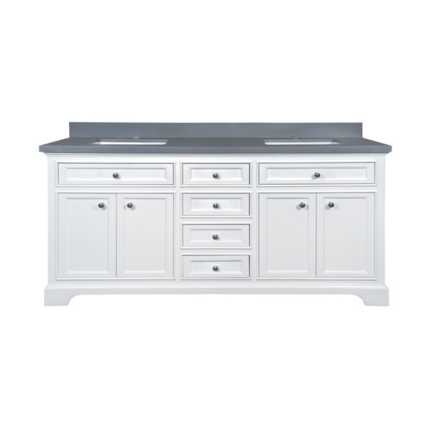 GEF Brielle Vanity with  Grey Quartz Top, 72-in White