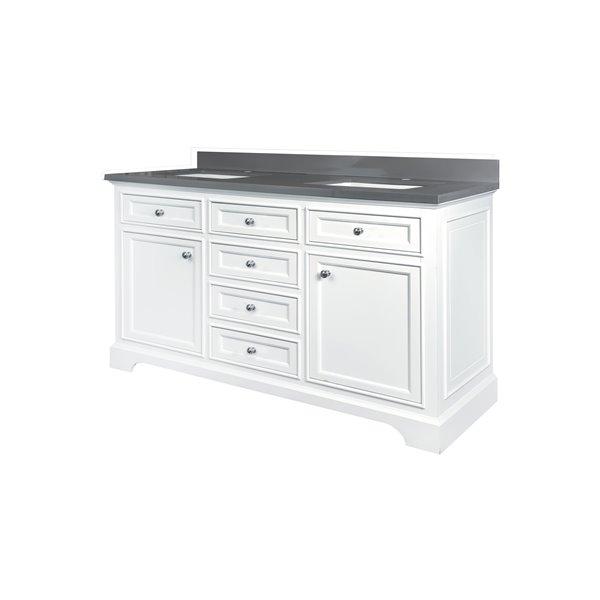 GEF Brielle Vanity with  Grey Quartz Top, 60-in White