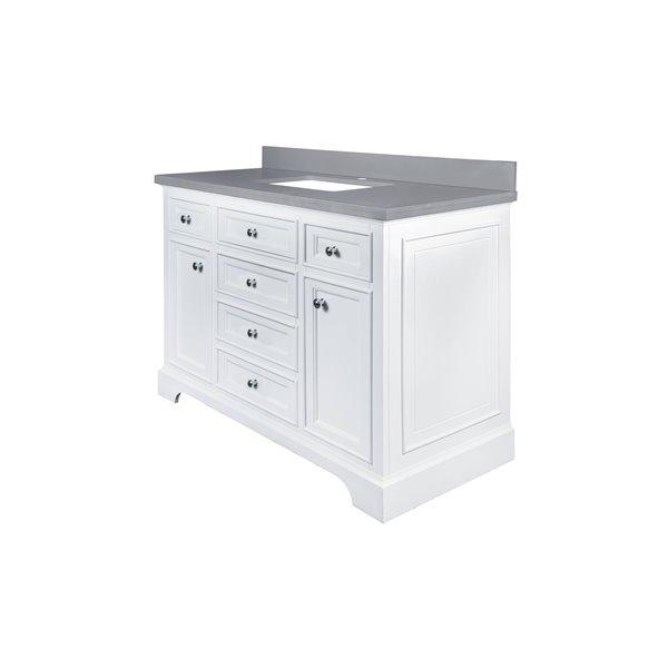 GEF Brielle Vanity with  Grey Quartz Top, 48-in White