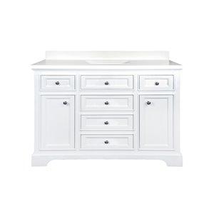 GEF Brielle 48-in White Single Sink Bathroom Vanity with White Quartz Top