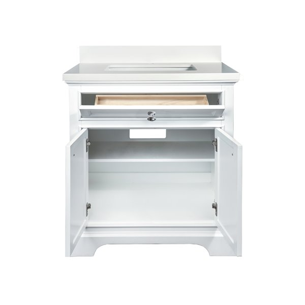GEF Brielle Vanity with  White Quartz Top, 30-in White