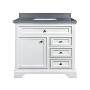 GEF Brielle Vanity with  Grey Quartz Top, 36-in White