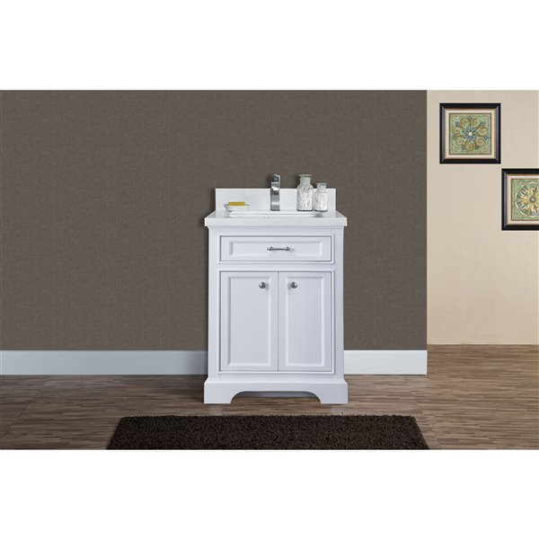 GEF Brielle Vanity with  White Quartz Top, 24-in White