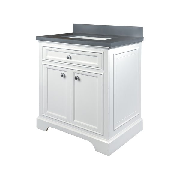 GEF Brielle Vanity with Grey Quartz Top, 30-in White