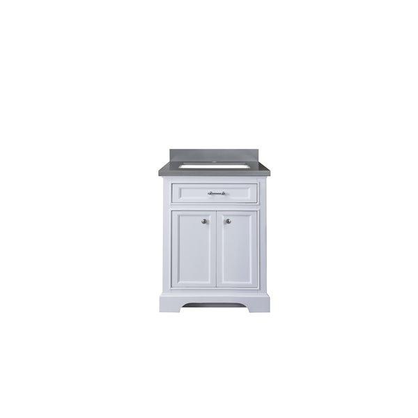 GEF Meuble-lavabo Brielle avec comptoir en quartz, 24 po. blanc
