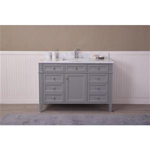 GEF Meuble-lavabo Catalina avec comptoir en marbre , 48 po. gris