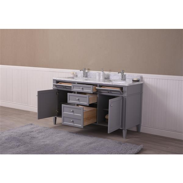 GEF Catalina Vanity with Carrara Marble Top, 60-in Grey
