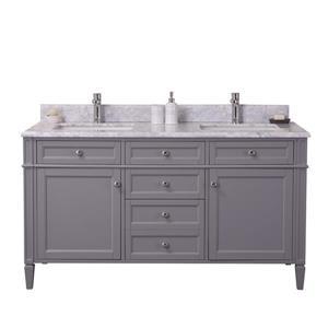 GEF Meuble-lavabo Catalina avec comptoir en marbre , 60 po. gris