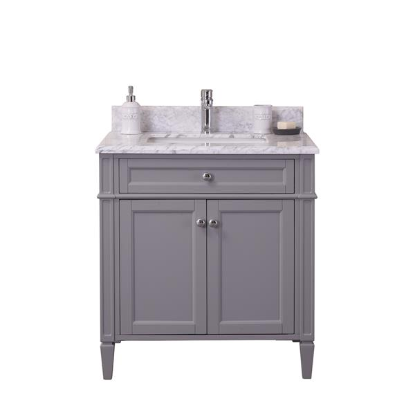 GEF Catalina Vanity with Carrara Marble Top, 30-in Grey