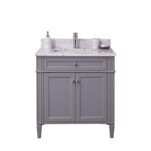 GEF Meuble-lavabo Catalina avec comptoir en marbre , 30 po. gris