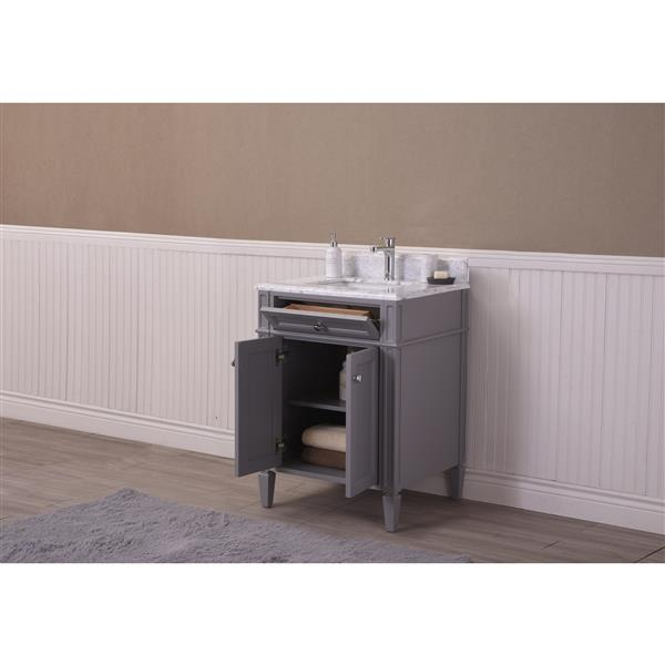 GEF Catalina Vanity with Carrara Marble Top, 24-in Grey