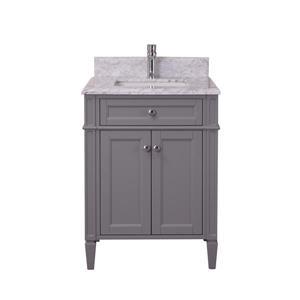 GEF Catalina Vanity with Carrara Marble Top, 24-in Grey