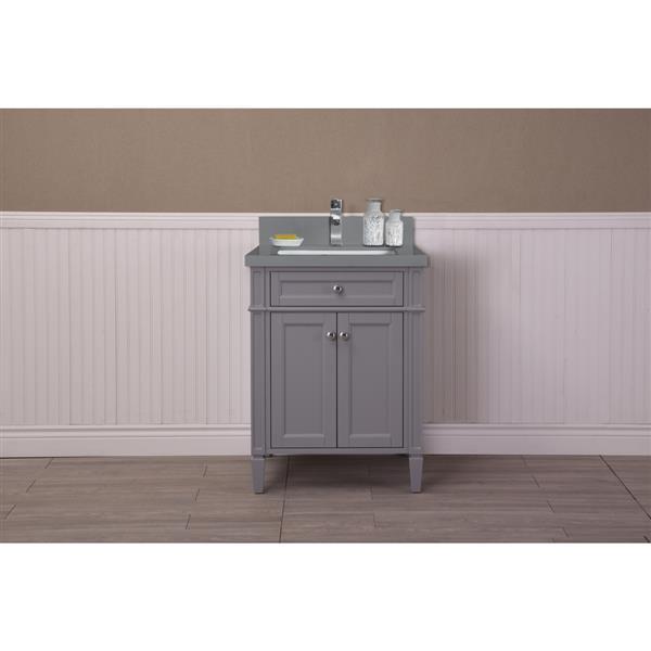 GEF Meuble-lavabo Catalina avec comptoir en quartz, 24 po. gris