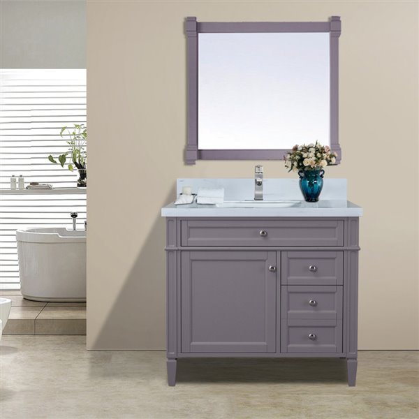 Brilliant Golden Elite Sorel 36 In Gray Bathroom Vanity With Quartz Interior Design Ideas Pimpapslepicentreinfo