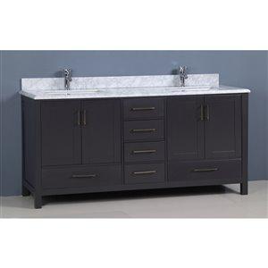 Golden Elite Capetown 72-in Double Sink Gray Bathroom Vanity with Marble Top