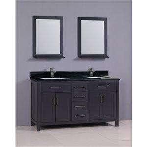 Capetown 60-in Double Sink Gray Bathroom Vanity with Granite Top