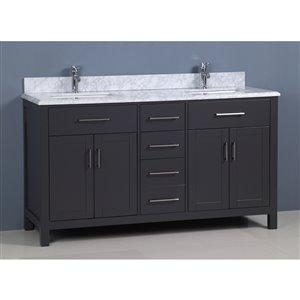 Golden Elite Capetown 60-in Double Sink Gray Bathroom Vanity with Marble Top